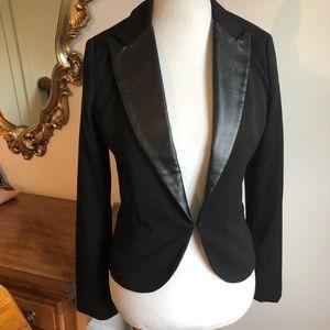 Black blazer jacket with leather collar detail